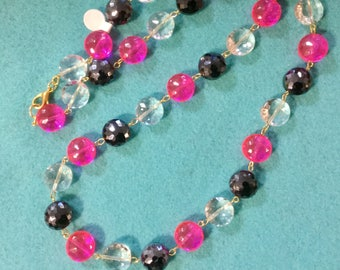 Pink Crystal Necklace Fluorescent Necklace Pink Black Bead Necklace Long Necklace Pink Necklace Summer Necklace Opera Length Handcrafted