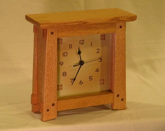 Arts & Crafts, Mission Style Clock - Quarter-sawn Oak
