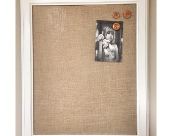 """White Rustic Magnetic Burlap Memo Board Frame - 22.5"""" x 19"""" Bulletin Board with Hardwood Construction, Magnetic Wooden Buttons"""