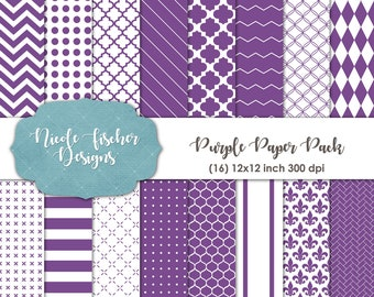 Purple Patterned Paper Pack -INSTANT DOWNLOAD
