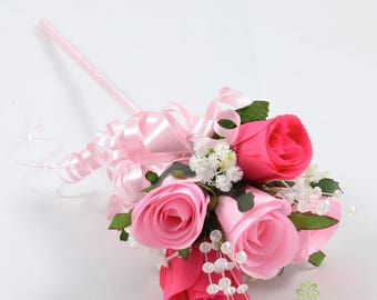 Artificial Wedding Flowers, Baby Pink & Hot Pink Rose Flower Girl Wand