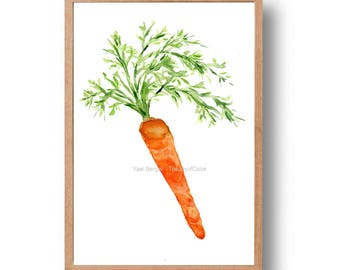 carrot art print, Kitchen art, Carrot watercolor print, carrot painting, Orange, vegetables art, foodie gift, botanical, thejoyofcolor