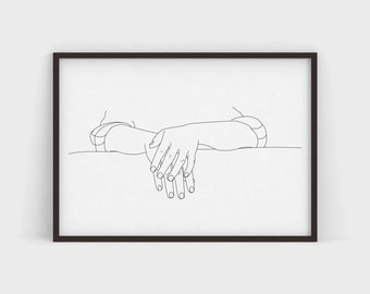 Relaxed Art Print Pen and Ink Line Drawing Modern Illustration Simple Poster Print