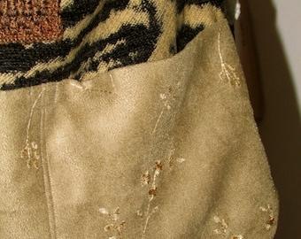SALE Zebra Fabric Bag, chenille, earth tones, pockets, adjustable strap, long strap, cross over body strap,