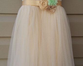 Champagne flower girl dress with sash, flower girl dress, champagne girls dress, girls dress, vintage wedding, rustic wedding, girls lace
