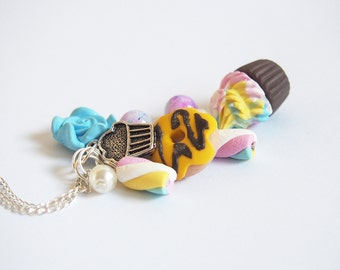 Food Necklace Cute Necklace ( food pendant polymer clay food miniature marshmallow necklace cupcake necklace doughnut necklace )