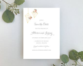 Wedding Save the Dates / Terrarium Floral Invitation Suite / Blush Floral Weddings / #1118
