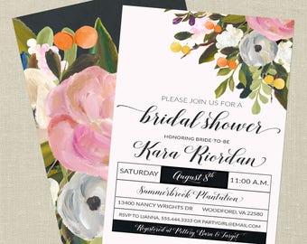 Floral Bridal Shower Invitation--Watercolor Flowers, Bouquet, Elegant, Pink, Gray, Printable Invitation, Digital File, Wedding Shower