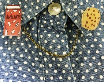 Milk And Chocolate Chip Cookie Collar Pins Sweater Cardigan Clips Adorable Food Gift From Daughter Lapel Pins Jewelry For Teens