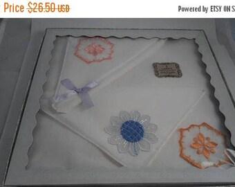ON SALE New Old Stock Hankies - 1950's 1960's Still In Original Box - 3 LadiesHandkerchiefs  - Pink Blue Orange Flowers - All Cotton