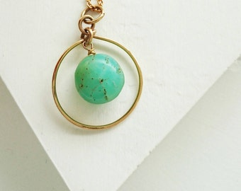 Chrysophrase with Frame Necklace, Crysophrase Necklace, Gold Necklace, Crysophrase Pendant, Gemstone Necklace, Bohemian Necklace