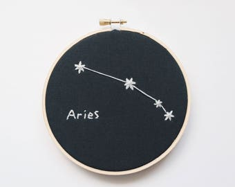 Aries star sign. embroidery hoop art.  hoop art embroidery. embroidery. astrology. astrology gifts. Aries gift. constellation. wall art.