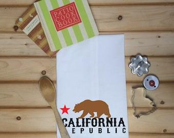 California Flour Sack Towel, California Tea Towel, California Republic, Gift for Chef, Flour Sack Tea Towel, Gift for Cook, Mothers Day Gift