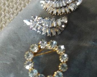 Rare Blue Rhinestone costume jewelery.Clip Earrings & Pin