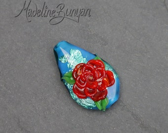 3D Rose, Red on Teal Blue, Lampwork Focal Bead