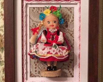 DOLLY with Polish Folk Dress – KRAKOWSKI, handmade 3D picture, Dolly Collection,