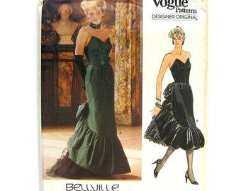 1980s Vogue Designer Original 1471 - Bellville Sassoon - Strapless Evening DRESS Ruffled Skirt / Red Carpet Ballgown Pattern / UNCUT Size 12