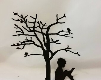 Little Boy Reading Under the Tree Die Cut Set-Frame Art-DIY Project-Card Making