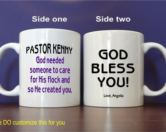 Minister Mug - Pastor Mugs - Personalized Coffee Mug - Appreciation Mug Gift - Christian Gifts for Pastor,  MST007
