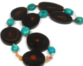 Water Buffalo Horn Necklace, Turquoise Necklace, Mexican Fire Opal Necklace, Chunky, Native, Sacred Animal Symbol, Rare Gemstones, Tribal