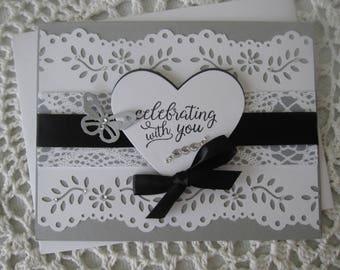 Handmade Greeting Card: Wedding/Engagament/Bridal Shower/Celebrating With You