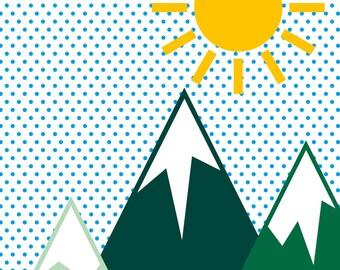 Mountain, Sun & Sky