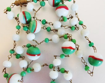 Vintage 1960's Green Red and White Art Glass Bead Necklace