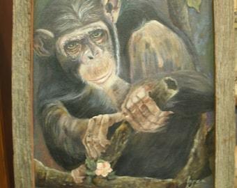 Chimp Monkey Oil Painting in Barn Wood Frame Original By Jayne 17x19.5