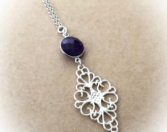 Purple Amethyst Necklace, Sterling Silver Amethyst Necklace, Purple Gemstone Necklace, Amethyst Necklace, February Birthstone Necklace,Women