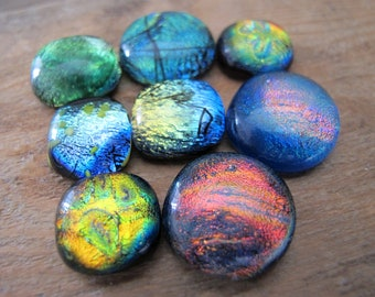 Lot of 8 Freeform Dichroic Cabochons Approximately 15mm to 20mm
