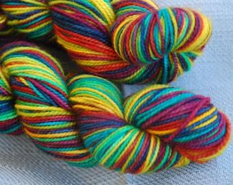 MCN Sockyarn, handdyed, seldstriping, colour autumn rainbow
