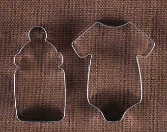 Baby Cookie Cutter Set, Baby Bottle Cookie Cutter, Baby Onesie Cookie Cutters, Metal Cookie Cutters, Baby Shower Cookie Cutters