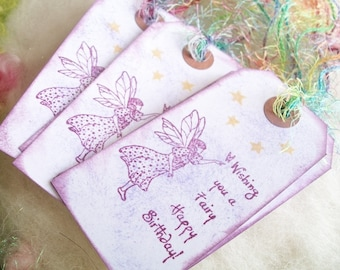 Gift Tags Little Fairy Gift Tags Set of 10 Flower Fairy Birthday Wishes Whimsical Party Bag Tags Bookmark Happy Birthday Thank You Tags