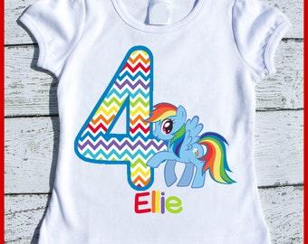 Custom Personalized Rainbow Dash Pony Birthday tee shirt