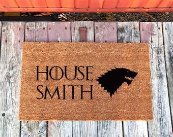2 Sizes - House Stark - Personalized Game of Thrones Coir Door Mat - Doormat - 18 x 30 & 24 x 36 - Housewarming Gift - House Warming