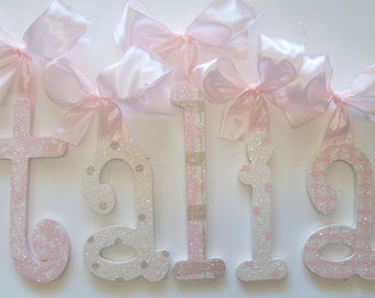 Custom Nursery Letters- Baby Girl Nursery Decor- GLITTERED Personalized Name- Wooden Hanging Letters - Nursery Wall Letters