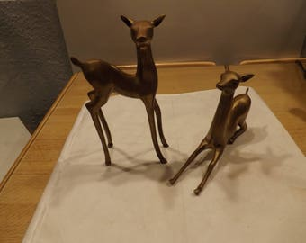 Two Brass Deer Decor
