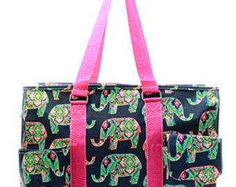 Monogrammed Elephant Utility Tote Bag,  travel bag, beach bag