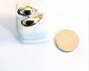 Vintage Sterling Silver 2 Dolphins Ring, Adjustable Size