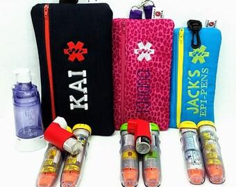 Insulated EpiPen Case Asthma Supply Case Medicine Case Personalized Emergency Info, Optional Detachable Belt by Alert Wear