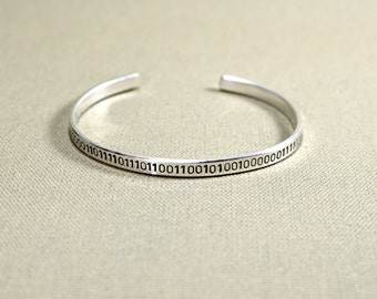 Sterling silver binary code cuff bracelet with custom messages - Solid 925 BR822