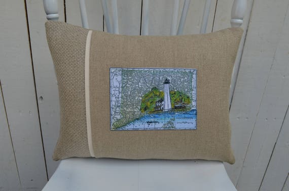 Connecticut Lighthouse Postcard Pillow (available in 3 styles and 2 prices)