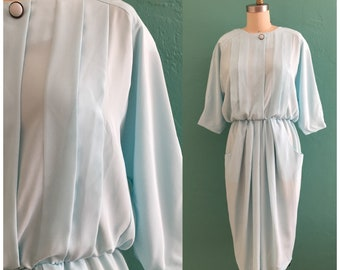 vintage 80's baby blue spring dress // draped secretary dress