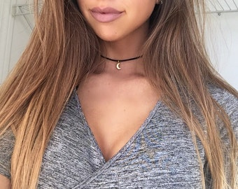 Moon Choker, Dainty Choker, Moon choker necklace, Simple Choker Necklace, Gift for her, Layer choker necklace