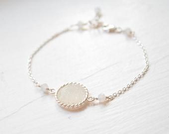 White Druzy Bridesmaid Bracelet, White Druzy Bracelet, Druzy Bridesmaid Jewellery