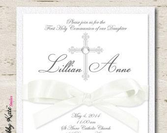 First Communion Invitation Elegant Communion Invitation White