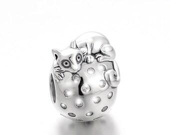 DeLageo, 925 Sterling Silver Cute Cat Charm,
