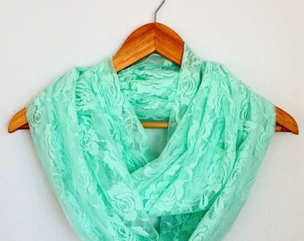 Mint Lace Infinity Scarf, Stretch Lace Eternity Scarf, Loop Scarf, Circle Scarf, Spring Scarf