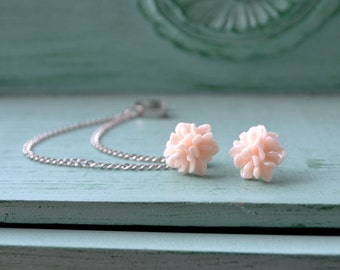 Pale Pink Blooms Double Silver Chain Ear Cuff Earrings (Pair)