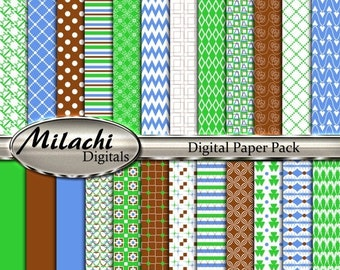 "60% OFF SALE Green blue brown digital paper pack, 12"" x 12"" scrapbook papers, backgrounds - Commercial Use - Instant Download - M261"